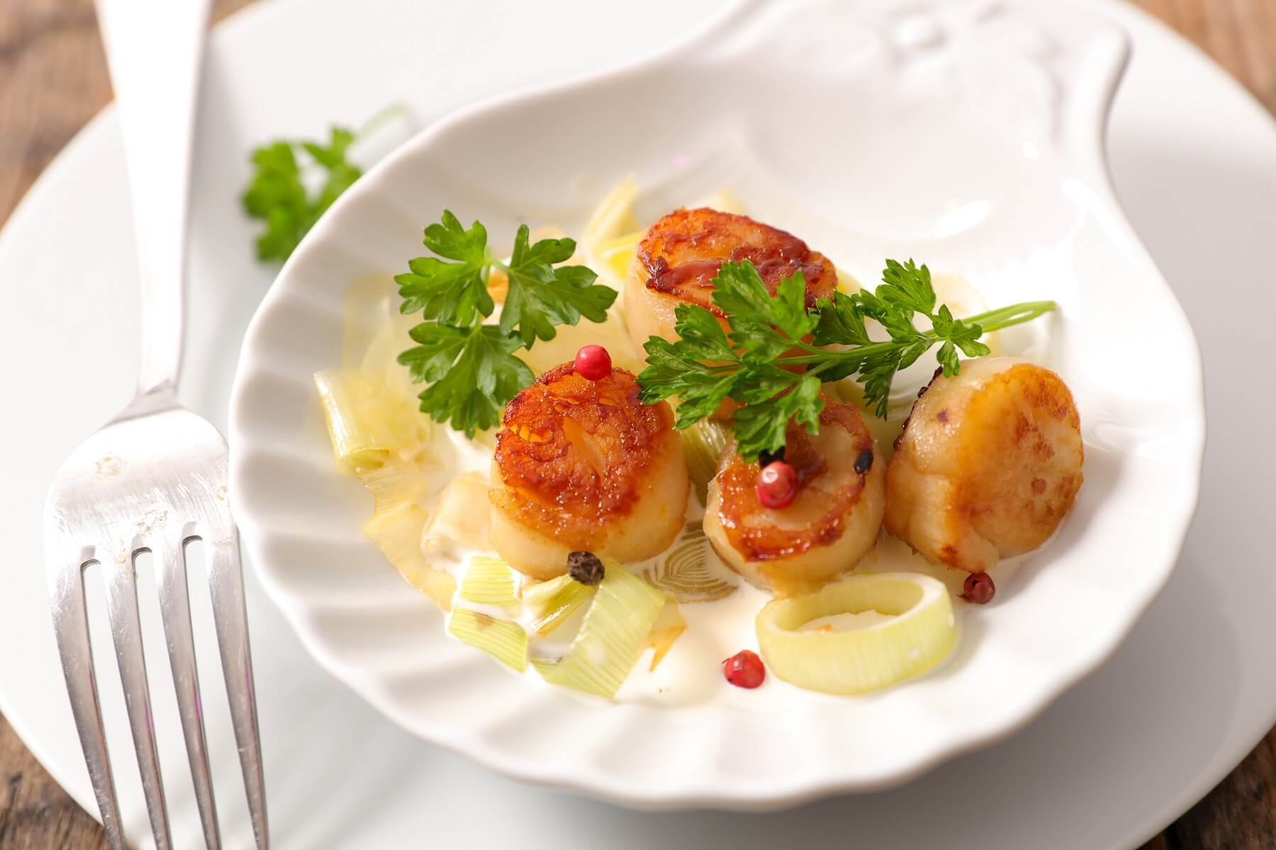 Leek and Chestnut Scallops Recipe