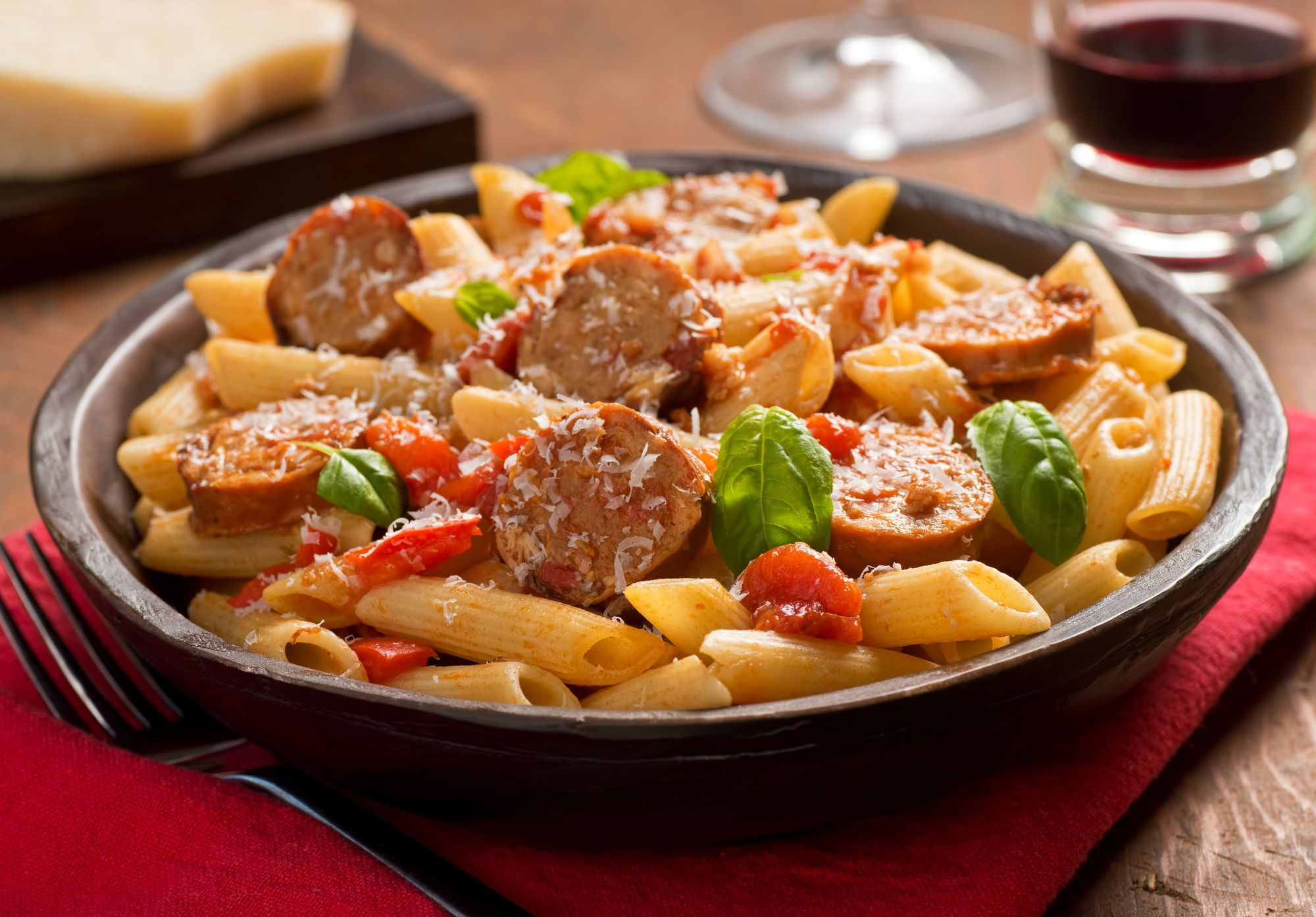 Olive, Tomato, and Spicy Sausage Penne