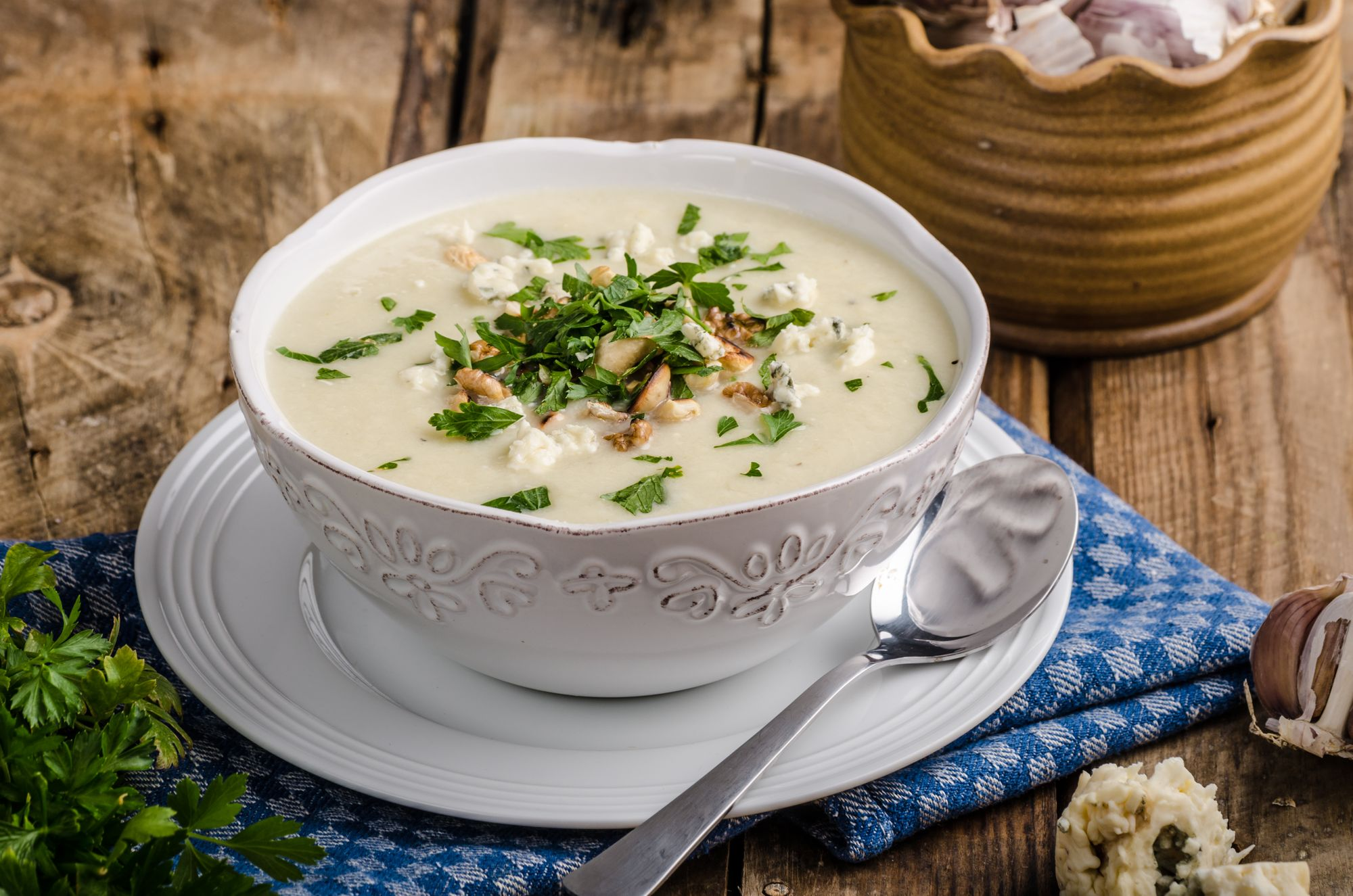 Potato, Parsnip, and Blue Cheese Soup