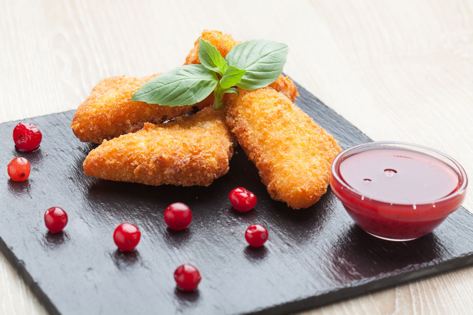 Breaded Cheese with Berry Compote