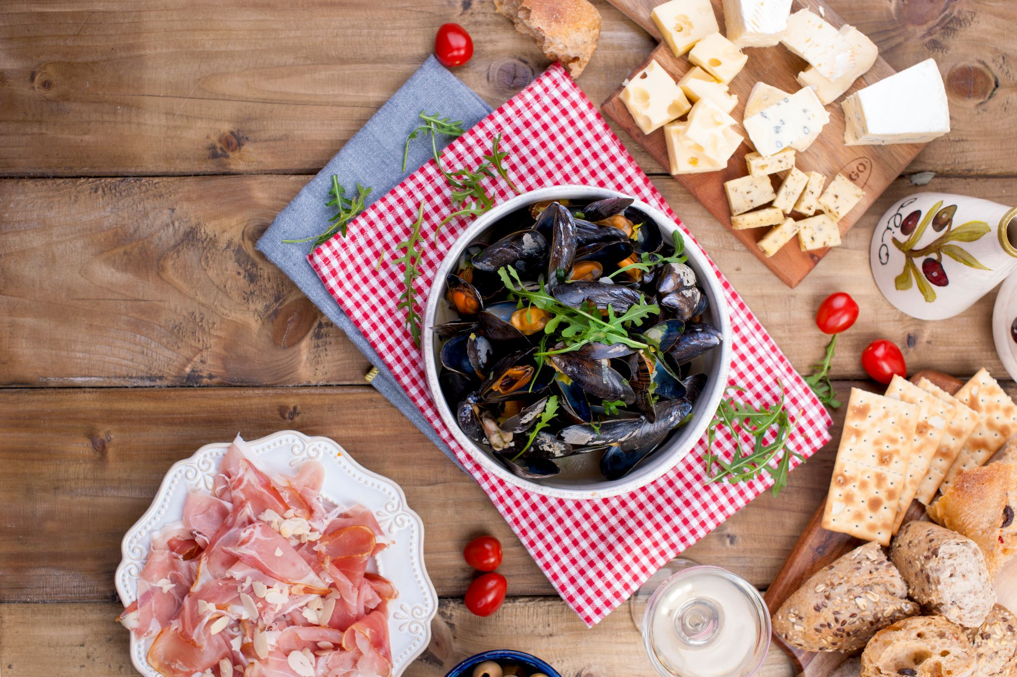 Mussels with Ham