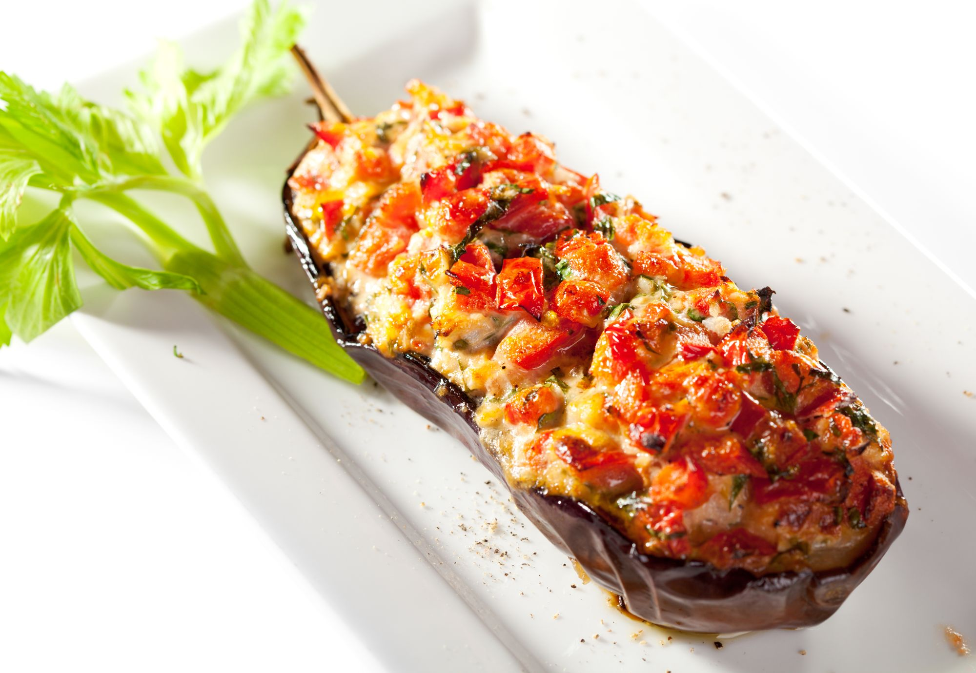 Roquefort Stuffed Eggplant