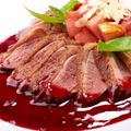 Duck Breast in Red Wine Sauce with a Crisp Noodle Cake